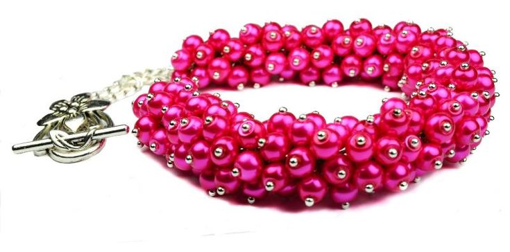 Chunky Cerise hot pink fuchsia Pearl Cluster Necklace Earring Set - TANIA - Bridal birthday mother's day| Gemstoneriver®