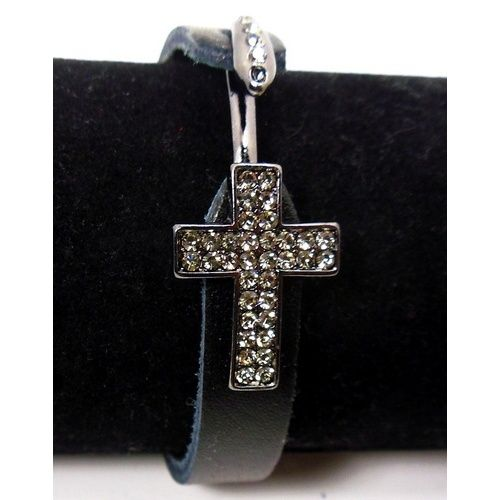 Leather Cross Bracelet -- Band/Strap Leather Cross & Hook clasp Gun Metal with White Rhinestones Bracelet measures 7.5 inches (19 cm). Band is 0.5 inches wide (1 cm).  #gndgems #bracelet #cross #religiousjewelry