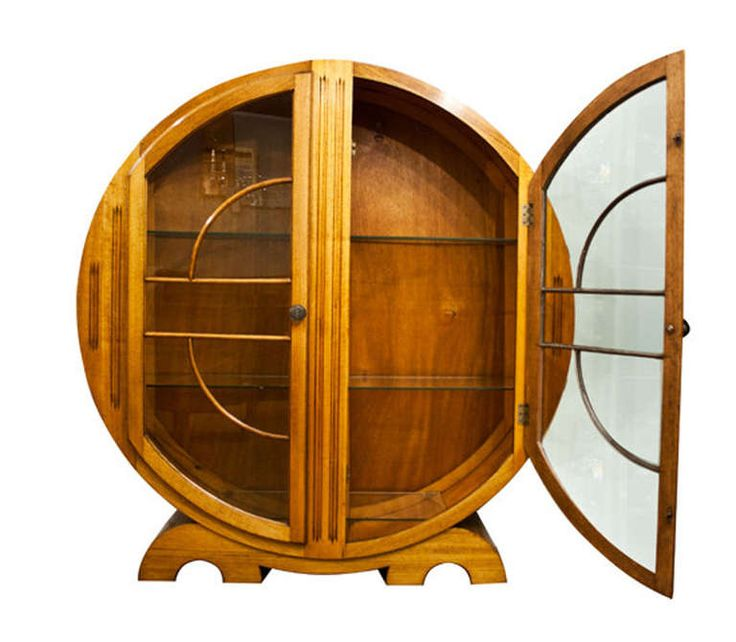 Art Deco Circular Cabinet | From a unique collection of antique and modern cabinets at http://www.1stdibs.com/furniture/storage-case-pieces/cabinets/