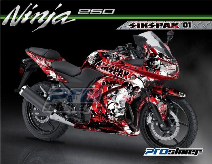 Striping Modifikasi Ninja 250R Karbu Warna Merah Motif SIKSPAK 01 Merah Prostiker