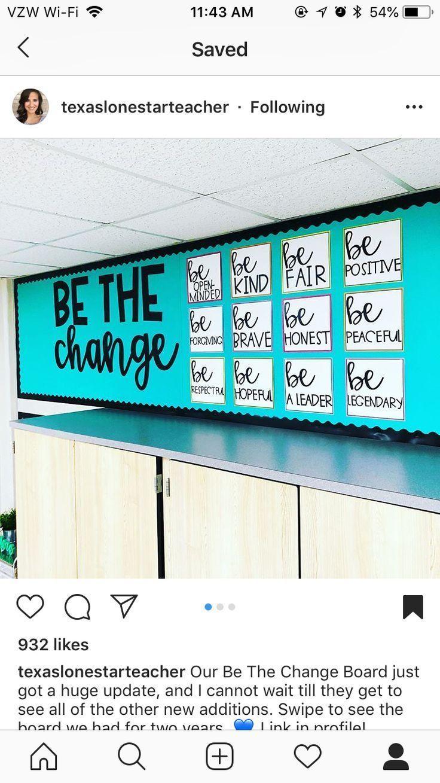 Be the change bulletin board Middle school bulletin