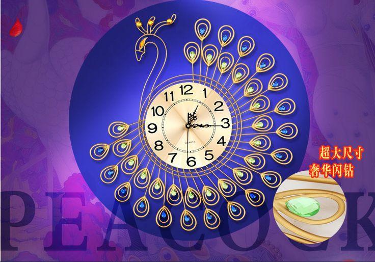 Украшение дома алюминия плиты настенные часы павлин Европейские современные творческие часы немой, когда гостиная настенные часы купить на AliExpress