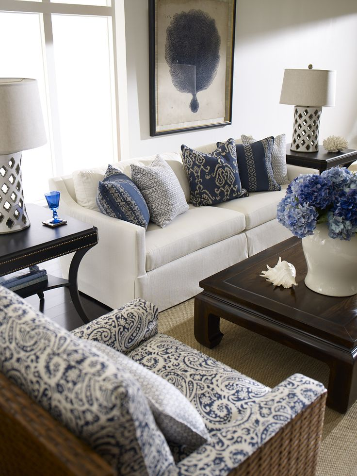 A blue and white delight. (With exotic Moroccan quatrefoil cutout lamps!) Great for a formal living room