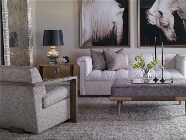 9047-MS Nottingham Mid Sofa. 9060R-OT Chatfield Ottoman. 9404-MI Corinthian Club Upholstered Floor Mirror. 9062-CH Troy Chair. 9555E-HM Pen Yan Side Table.