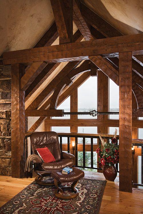 Timber frame home interior rustic home decor pinterest for Rustic timber frame homes
