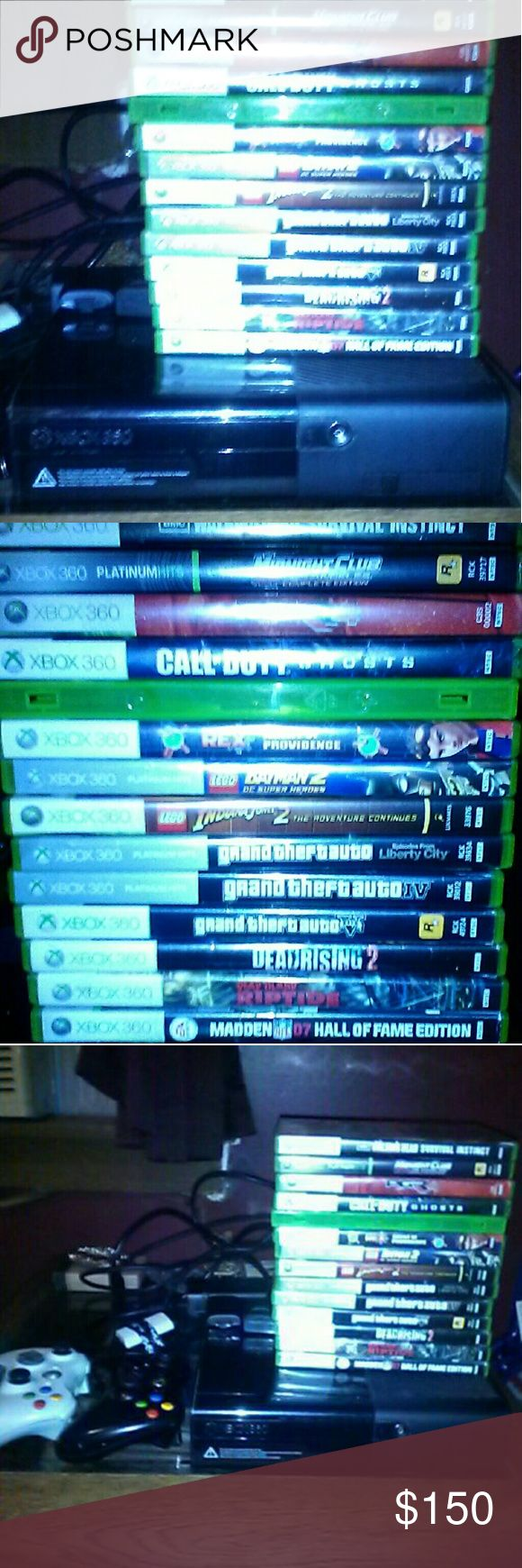 Xbox 360 It is a year old works good 16 games 2 controllers 3 battery packs and charger and all the cords games are scratched but still work. One battery pack has tape around it to keep it closed Other
