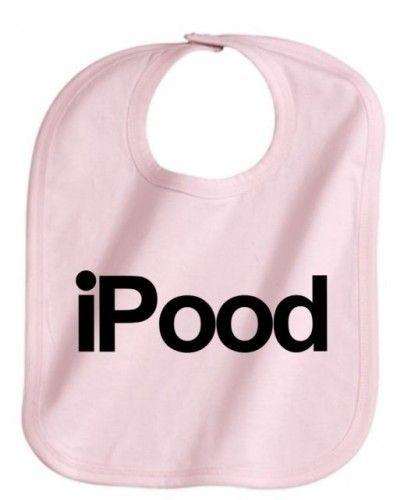 iPOOD FUNNY BABY INFANT GIRL PINK BIB GREAT GIFT ADJUSTABLE NEW