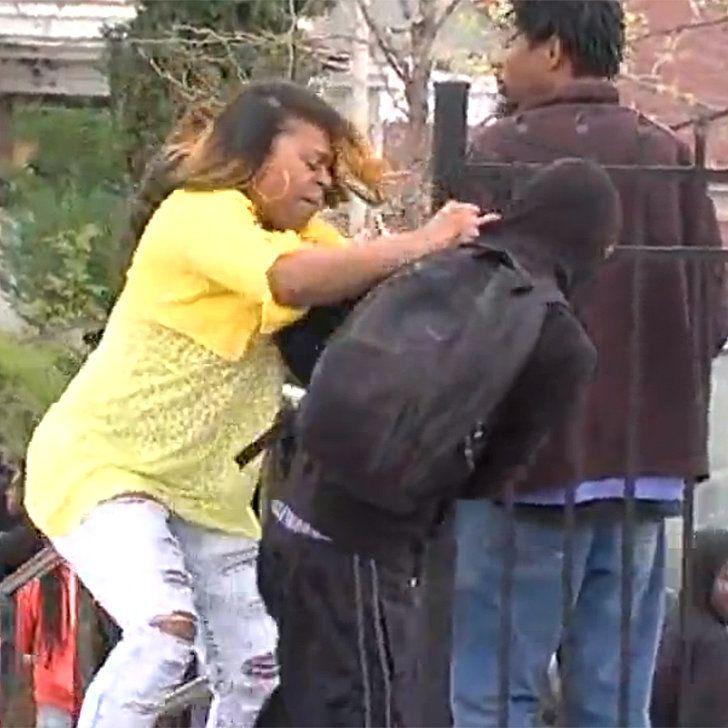 Mom Literally Slaps Sense Into Son For Throwing Rocks at Baltimore Police