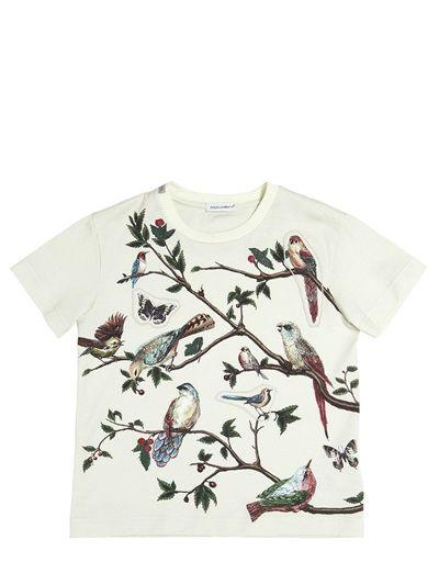 BIRD PRINTED COTTON JERSEY T-SHIRT