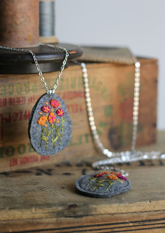Wildflower Felt Necklace / Hand Embroidered by ThePennyRunner, $25.00--I love felt necklaces--soft, different, difficult for little hands to break...