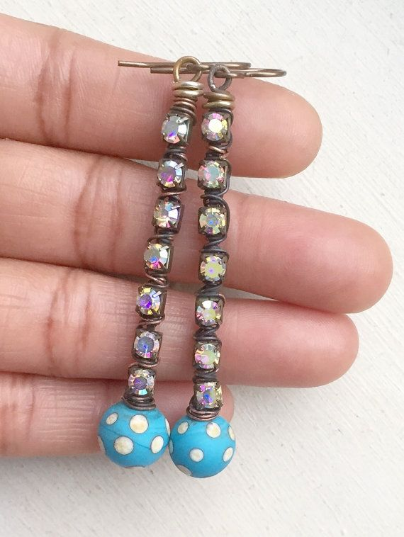 Blue turquoise lampwork earrings rhinestone cup by ButtonedUpBeads