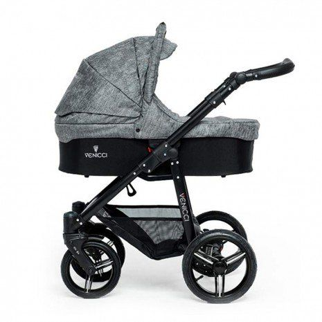 Venicci Travel System (Open Basket) - Black Chassis / Denim Grey
