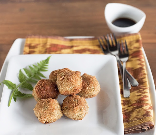 savory brown rice balls with olives -- recipe and photo by yummy supper
