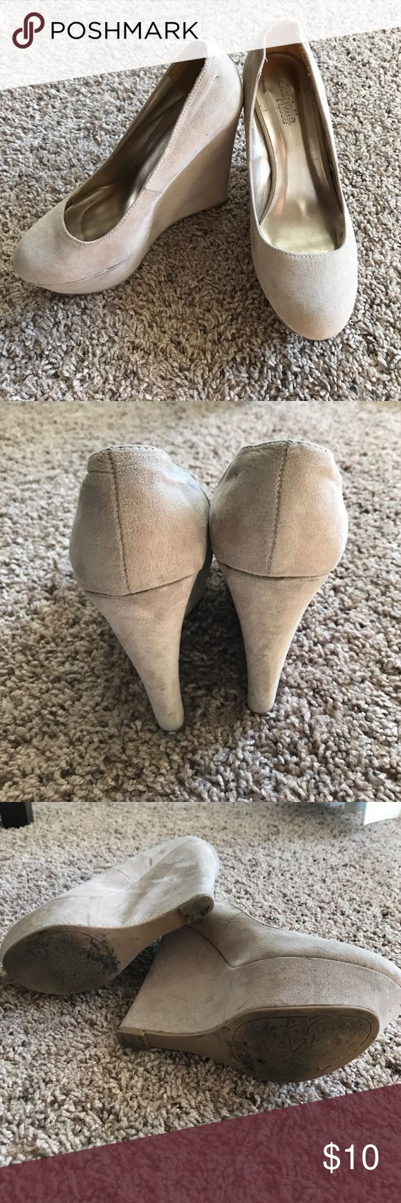 Cream wedges Cream wedges. A little worn but still sturdy! Wore them for dances a few times Charlotte Russe Shoes Wedges