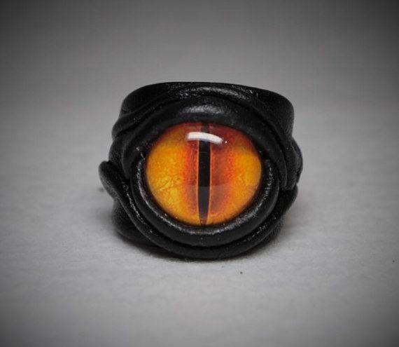 Dragon eye adjustable genuine leather ring. Burning man