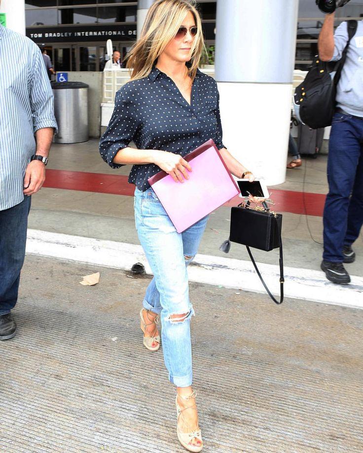 Jennifer Anniston - wearing jeans, blush or nude shoes, black polka dot button down shirt