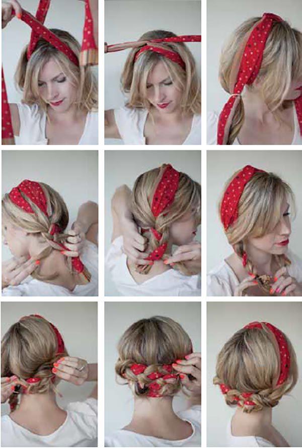 Bandana ile saç örgüsü yapım 2