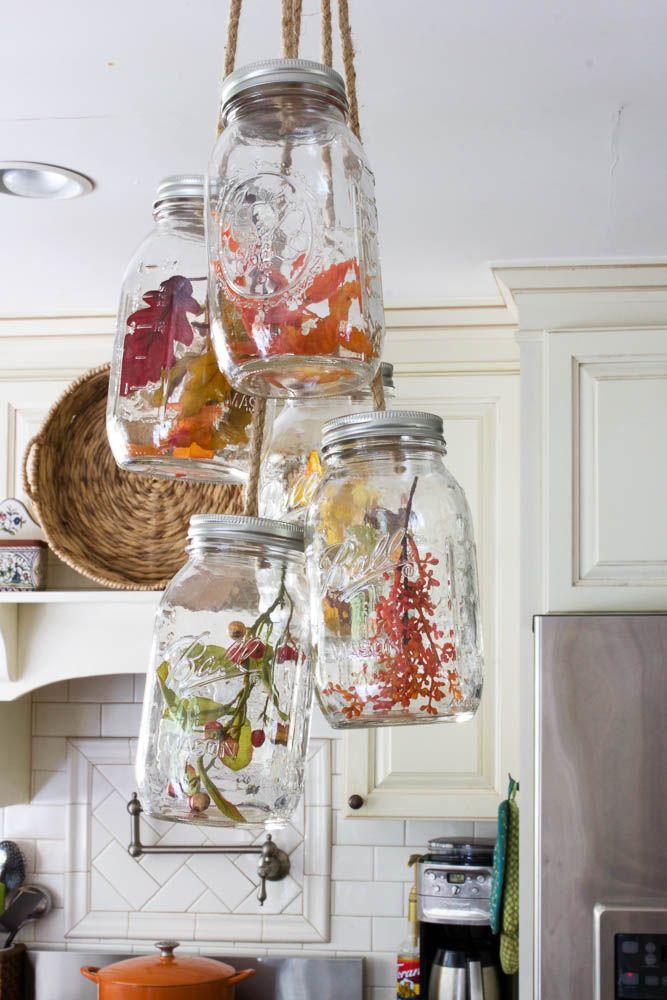 DIY mason jar chandelier - fill with decorative items depending on the season