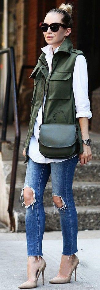 Marissa Webb Cargo Vest + Levi's 721 Skinny Jeans + Coach Saddle Bag + Jimmy Choo Shoes                                                                             Source