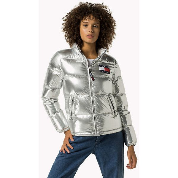 Silver Down Puffer Jacket (13.905 RUB) ❤ liked on Polyvore featuring outerwear, jackets, white puffer jacket, white puffy jacket, white jacket, puffer jacket and puffy jacket