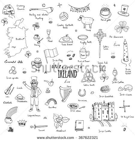 Hand drawn doodle Ireland set Vector illustration Sketchy Irish traditional food icons Republic of Ireland elements Flag Map Celtic Cross Knot Castle Leprechaun Shamrock Harp Pot of gold Travel icons - stock vector