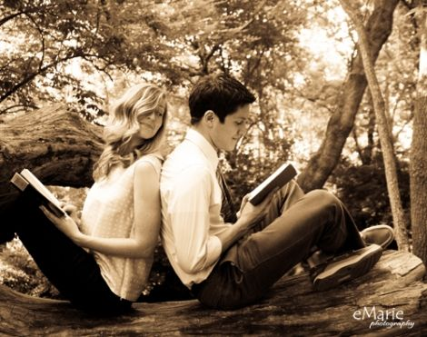 couple reading back to back - photo by eMarie Photography