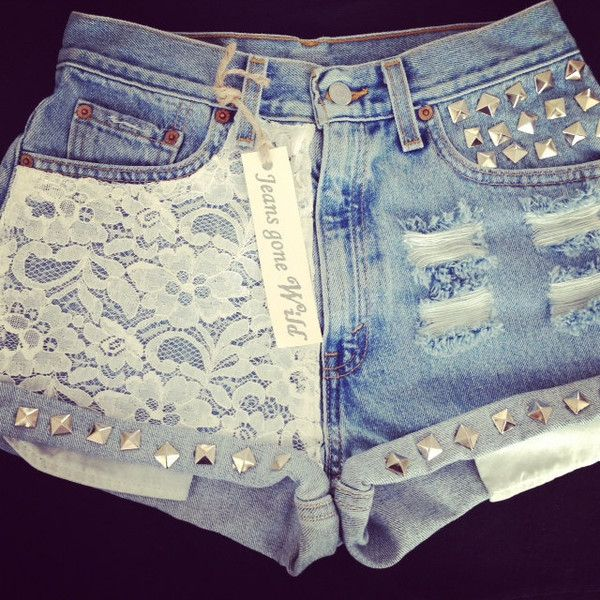 New High waisted denim short with lace and studs ($65) ❤ liked on Polyvore featuring shorts, bottoms, pants, short, summer shorts, high rise jean shorts, jean shorts, denim shorts and lace shorts