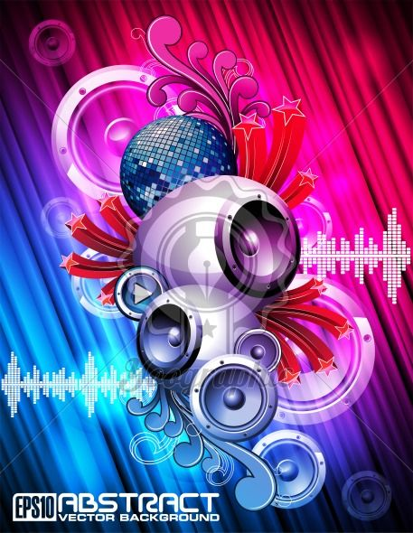 Abstract vector shiny background with speaker and design elements. - Royalty Free Vector Illustration