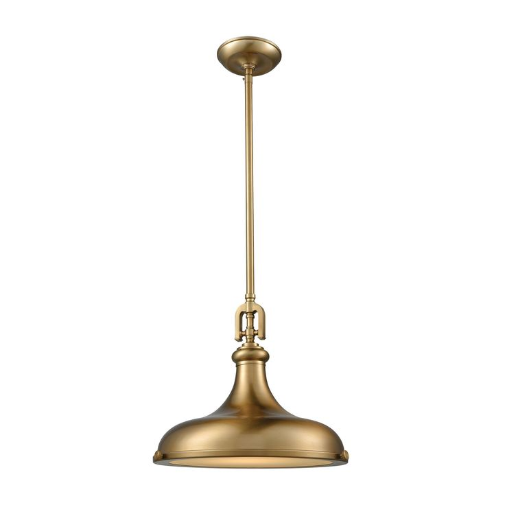elk rutherford 1 light pendant in satin brass with frosted glass diffuser pendant item number