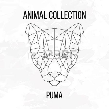 Geométrica animales puma línea de la cabeza de la silueta sobre fondo blanco elemento de diseño de la vendimia