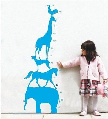 Createforlife Home Decorative Vinyl Wall Sticker and Wall Decals Animals Growth Chart Wallpaper