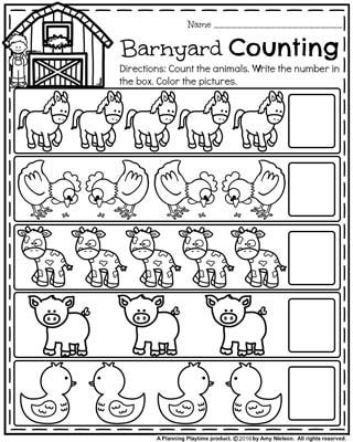 Back to School Preschool Counting Worksheets - Barnyard Counting Farm Animal Theme.