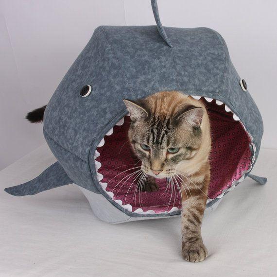 Cat Ball a Unique Cat Bed for Shark Week van TheCatBall op Etsy