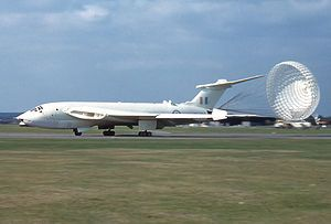 Handley Page Victor, in early anti flash white, in its original role as a nuclear bomber, deploying braking chute.