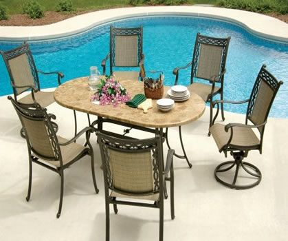 Agio patio furniture using stone on the tabletop. Available at 50 retailers in USA and Canada. Major store like Costco, The Home Depot, Lowes and Macy's