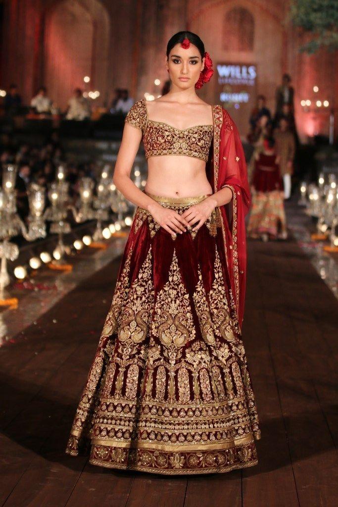 Red velvet gold embroidered lengha   JJ Valaya Garden of Flowers Fashion Runway…
