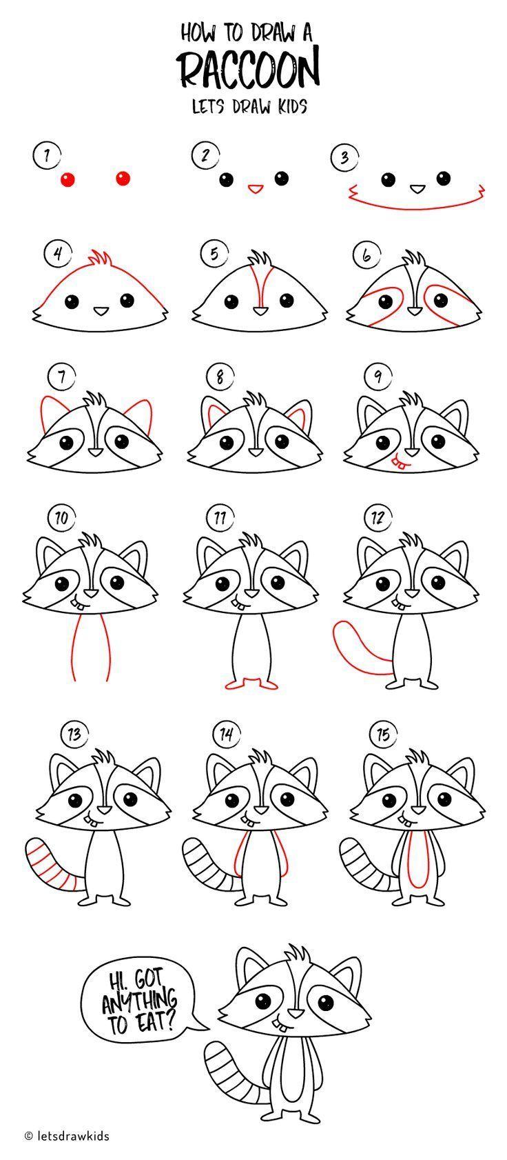 Wie Zeichne Ein Waschbär Einfaches Zeichnen Schritt Für Schritt
