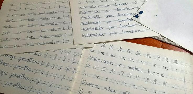 Kaunokirjoitus, täytemustekynä,imupaperi, kansakoulu 1969