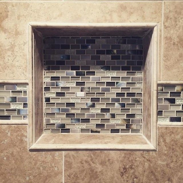 loving this tile design in and around the bathroom shower recessed shelf miramar mix with
