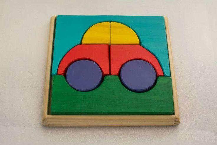 Puzzle auto    Pedagogia Waldorf Juguetes de Madera  Comarca de Juguetes