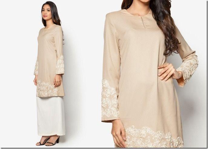 Glamorous Pastel Baju Kurung Ideas For Raya 2016 / brown-beige-modern-kurung