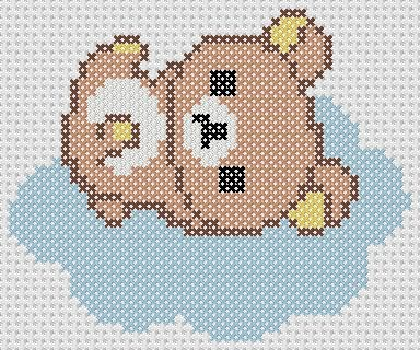 Rilakkuma Japan Kawaii Cross Stitch Pattern DIY Cloud San-X  Stitch Count: 48 (width) x 40 (height) Size: 6.85 cm (width) x 5.71 cm (height) Fabric Count: 14 threads per cm Colours: DMC codes Product File Type: PDF  More Rilakkuma love for everyone! A small Rilakkuma cross stitch of a Rilakkuma floating on a cloud. The second of a series of cloud-based Rilakkuma cross stitch patterns that I made. I made it out of an icon I found on the San-X website. Product only includes the PDF pattern…