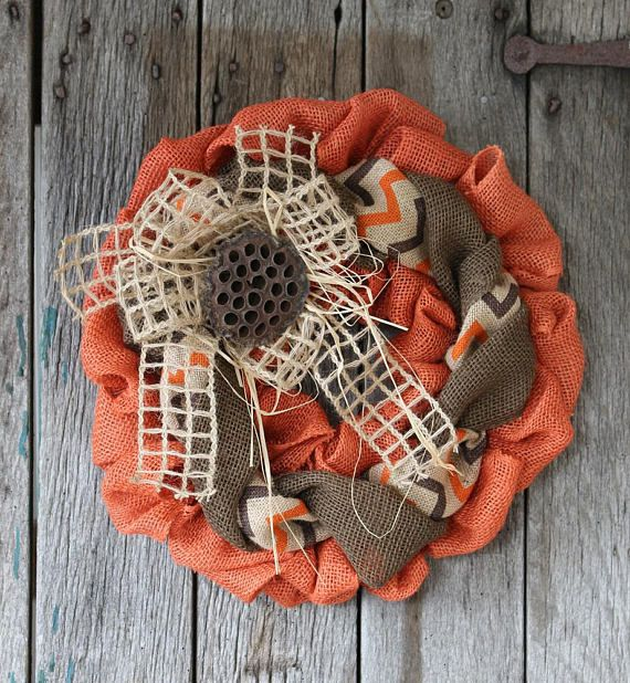 Fall Wreath Orange Burlap Wreath Autumn Wreath Small Burlap