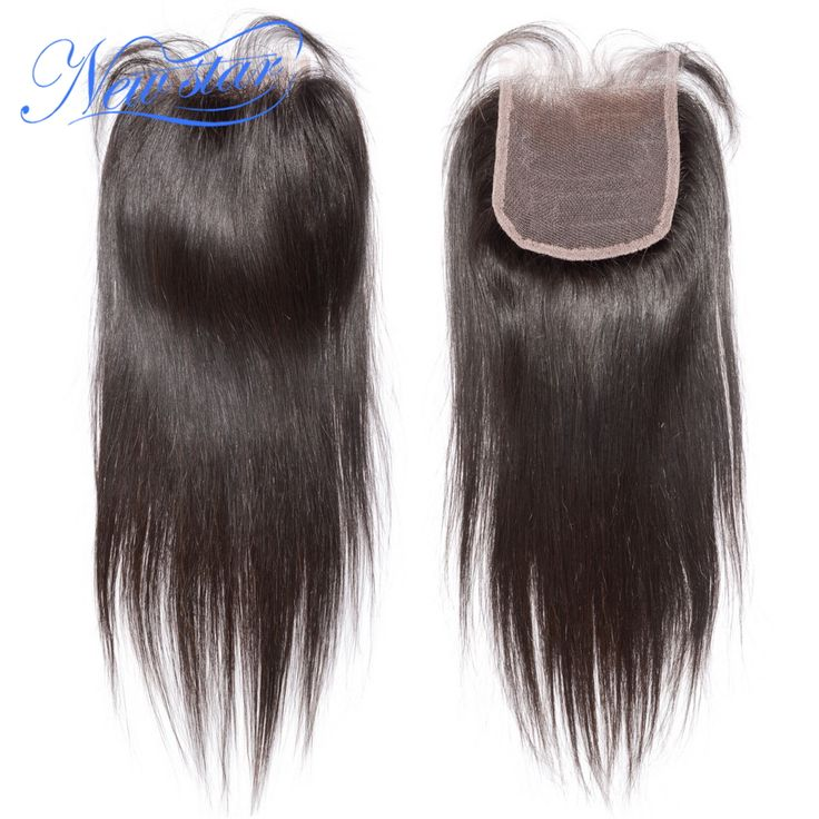 new star brazilian virgin hair straight style natural off black or dark brown free style top lace closure  4*4inch