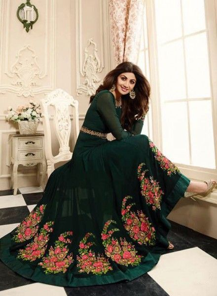 Green floor length anarkali suit in georgette for party H17223