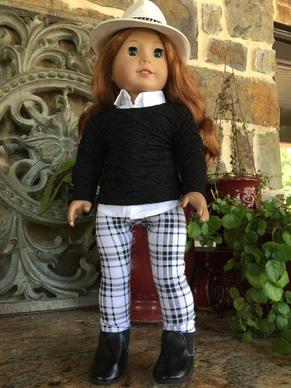 "Doll Clothes 18/"" Boots Knit Black Fits American Girl Dolls"