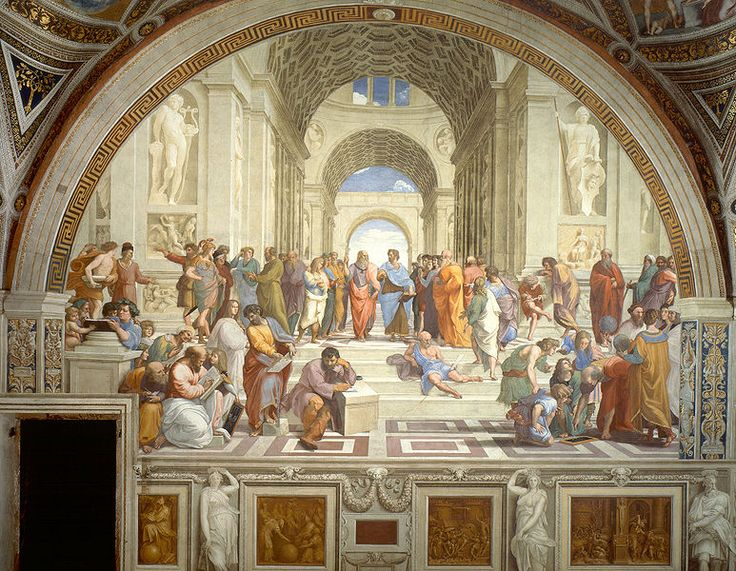 Raphael, School of Athens - this is in the Papal Apts, Vatican, we viewed this painting in private tour of Vatican, Rome, Italy. Raphael could not stand Micheangelo, who he considered a sculptor who painted, but not a painter - so he put in this painting, the man in the front, that everyone has their noses turned up at, b/c he did not bathe regularly, so much in this painting and how Christianity was viewed by Greek philosophers.