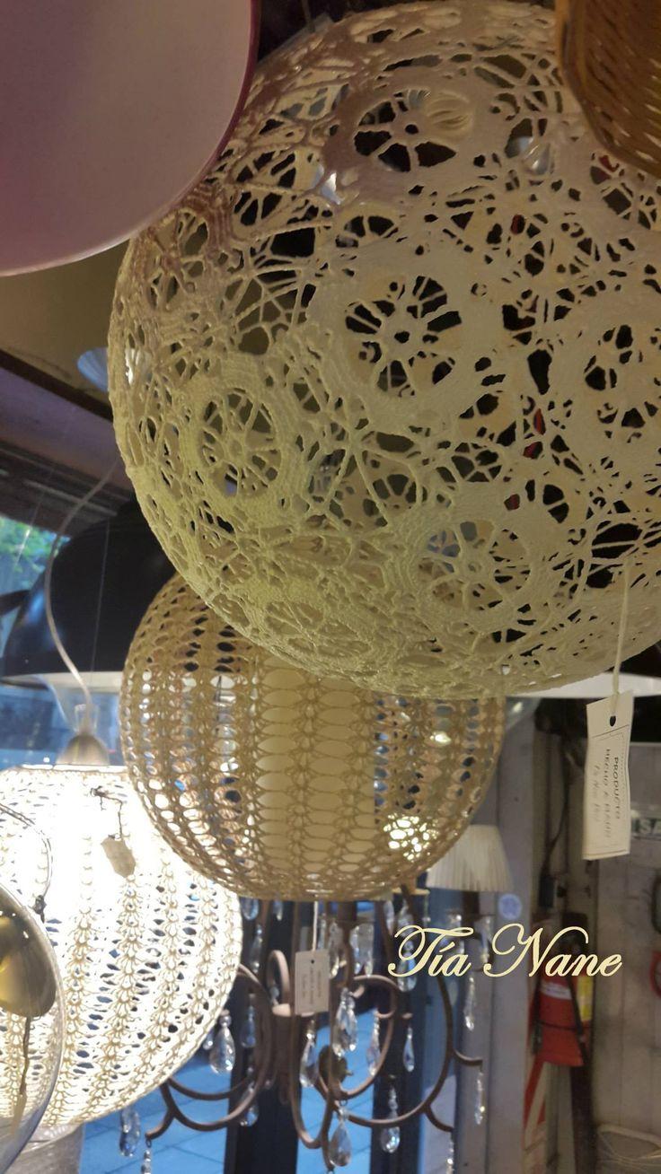Lmparas colgantes tejidas a crochet Hanging LampsTejidos