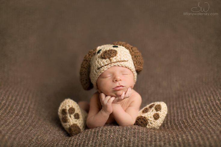 Crochet Newborn baby dog hat booties set crochet by Stephyscrochet, $35.00