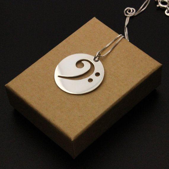 Bassschlüssel Halskette Silber Musik Anhänger von Silversmith925